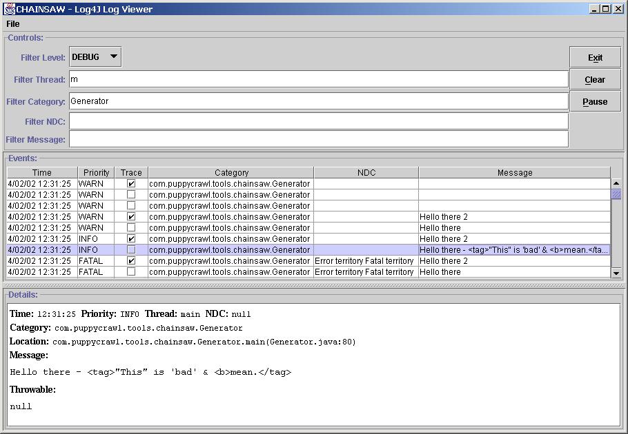 org apache log4j chainsaw (Apache Log4j 1 2 17 API)